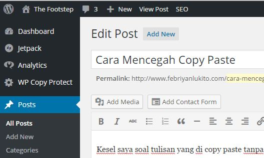 cara mencegah copy paste di wordpress selfhosted dengan copy protect
