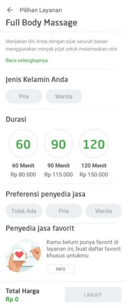 review aplikasi Go Life - review layanan go massage