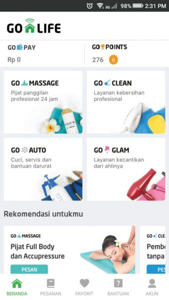 review aplikasi Go Life - layanan go massage