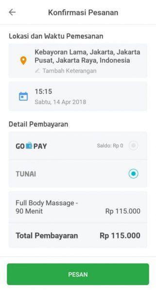 review layanan go massage dari gojek dengan aplikasi go life
