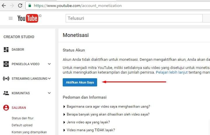 mendaftar adsense di youtube dengan
